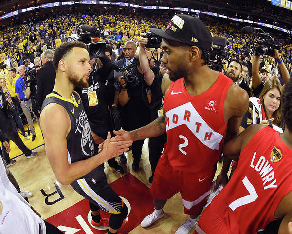 Playoffs Poster featuring the photograph Stephen Curry and Kawhi Leonard by Andrew D. Bernstein