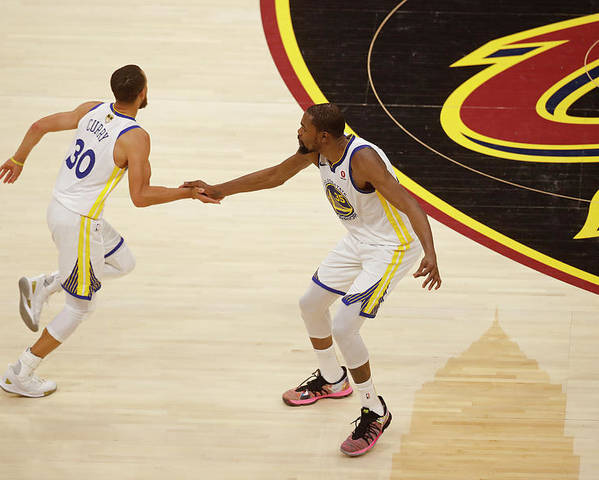 Playoffs Poster featuring the photograph Stephen Curry and Kevin Durant by Mark Blinch