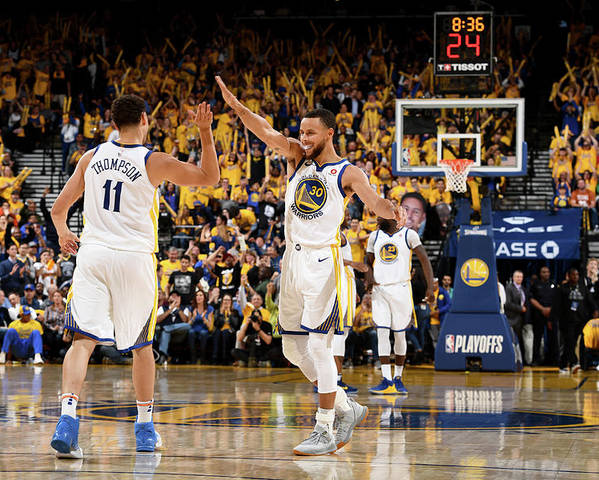 Playoffs Poster featuring the photograph Stephen Curry and Klay Thompson by Garrett Ellwood