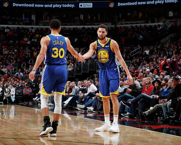 Nba Pro Basketball Poster featuring the photograph Stephen Curry and Klay Thompson by Jeff Haynes