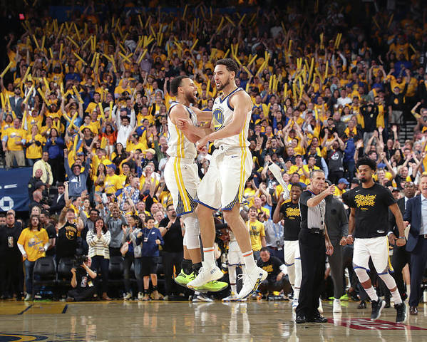 Playoffs Poster featuring the photograph Stephen Curry and Klay Thompson by Joe Murphy