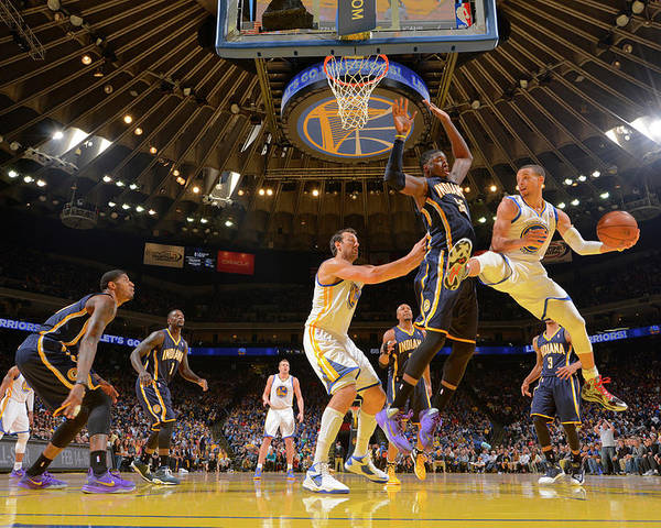 Nba Pro Basketball Poster featuring the photograph Stephen Curry and Roy Hibbert by Rocky Widner
