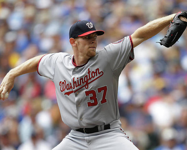Stephen Strasburg Poster featuring the photograph Stephen Strasburg by Mike Mcginnis