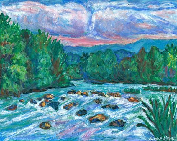 Landscape Poster featuring the painting Stepping Stones on the New River by Kendall Kessler