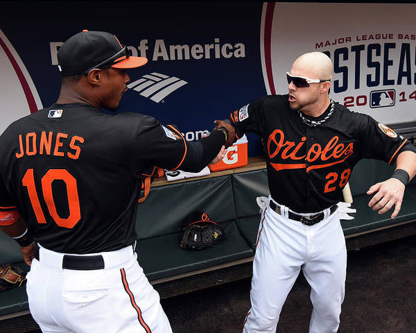 Game Two Poster featuring the photograph Steve Pearce and Adam Jones by Patrick Smith