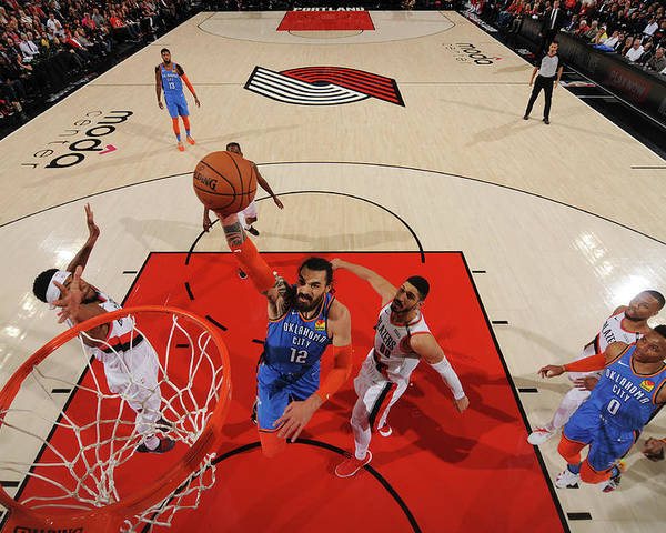 Playoffs Poster featuring the photograph Steven Adams and Enes Kanter by Cameron Browne