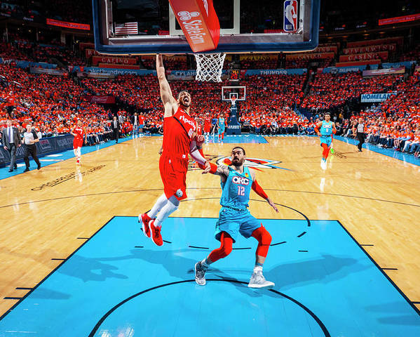 Playoffs Poster featuring the photograph Steven Adams and Enes Kanter by Zach Beeker
