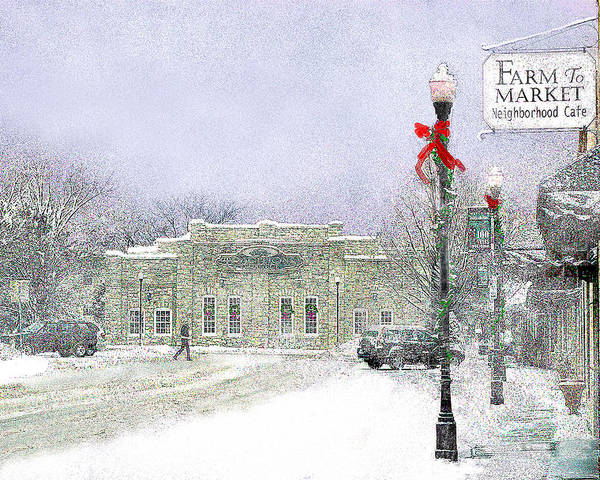 Snow Scene Poster featuring the photograph Strang Car Barn in Winter by Steve Karol