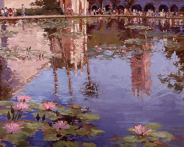 Water Lily Paintings Poster featuring the painting Sunday Reflections - Balboa Park by Betty Jean Billups