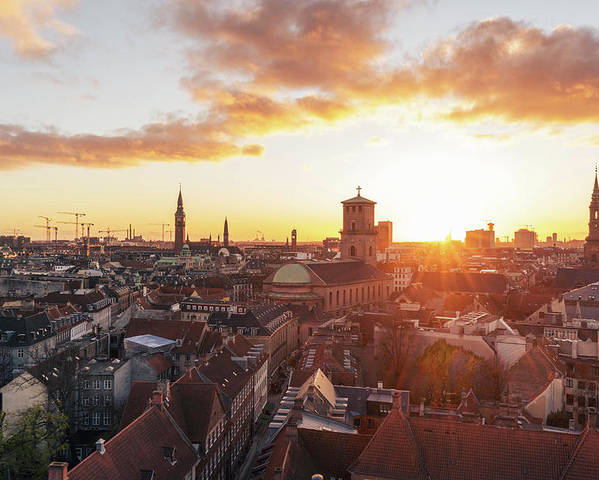 City Poster featuring the photograph Sunset above Copenhagen by Hannes Roeckel