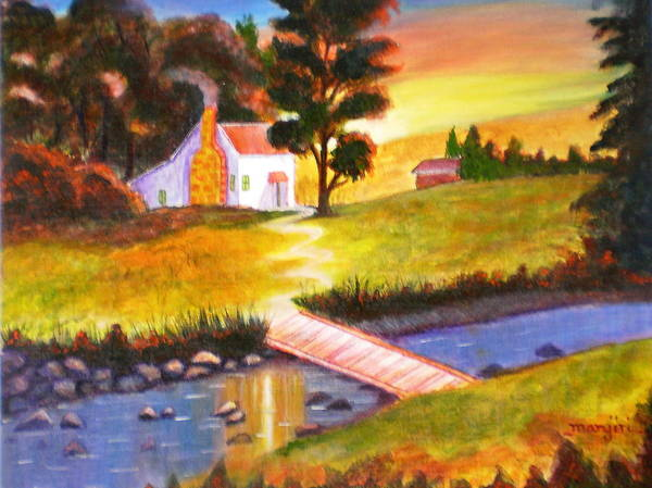 Sunset Acrylic Painting Art Cottage Trees Water Green Orange Red Sky Bridge Rocks Pebbles Yellow House Bushes Poster featuring the painting Sunset Cottage by Manjiri Kanvinde