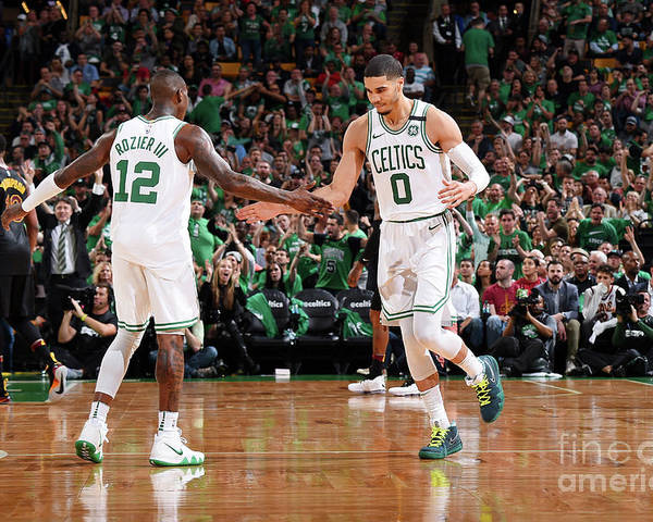 Playoffs Poster featuring the photograph Terry Rozier and Jayson Tatum by Brian Babineau