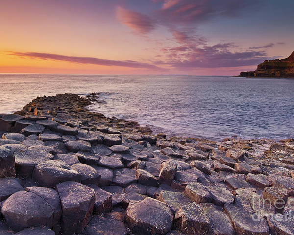 Giants Causeway Poster featuring the photograph The Giants Causeway Sunset, Northern Ireland by Neale And Judith Clark
