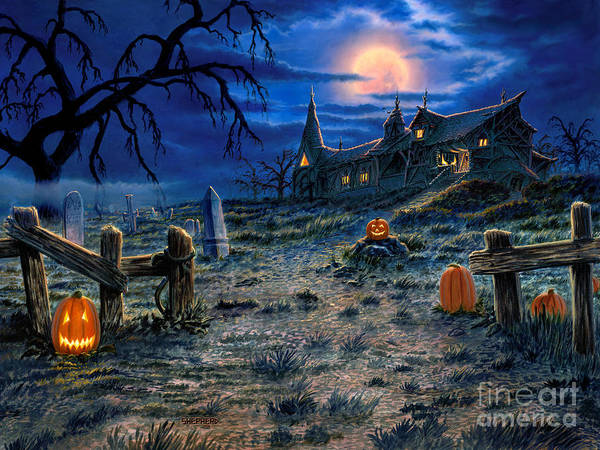 Halloween Poster featuring the painting The Haunted House by Stu Shepherd