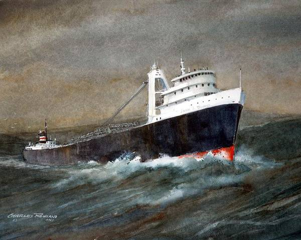 Ships Poster featuring the painting The John J Boland by Charles Rowland