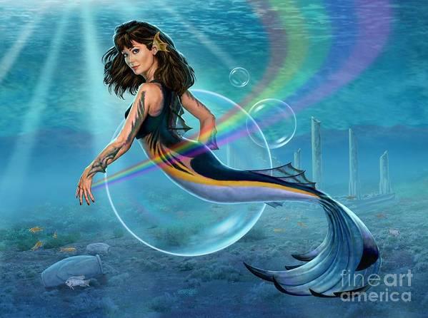 Mermaid Poster featuring the digital art The Mermadancer by Stu Shepherd