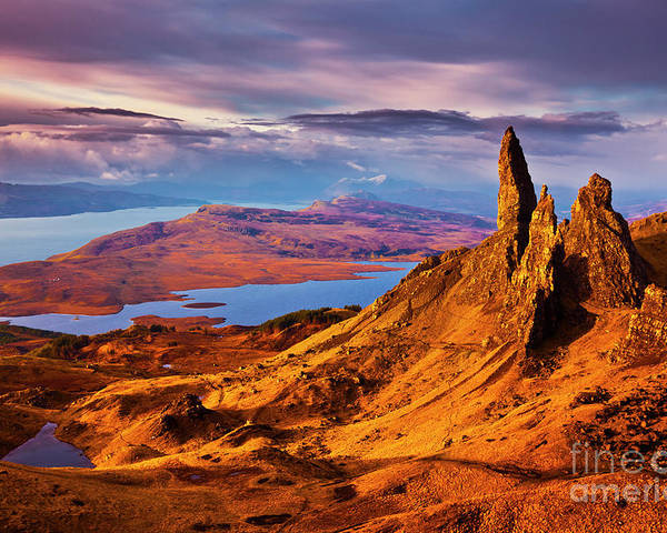 Old Man Of Storr Poster featuring the photograph The Old Man Of Storr At Sunrise, Isle Of Skye by Neale And Judith Clark