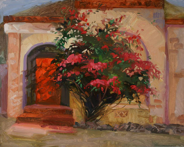 Catalina Island Ca Poster featuring the painting The Red Door - Catalina Island by Betty Jean Billups