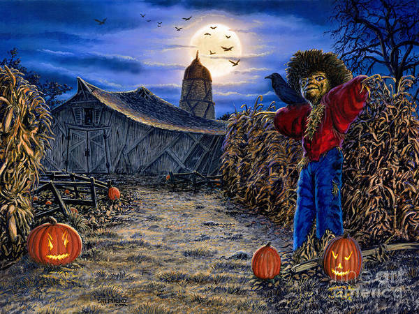 Halloween Poster featuring the painting The Spooky Scarecrow by Stu Shepherd