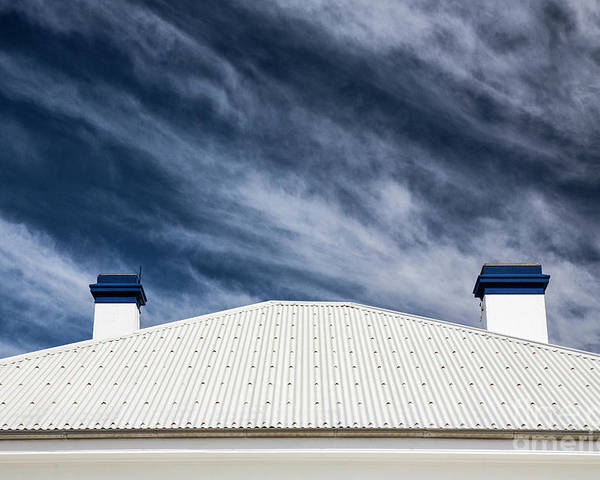 Tin Roof Poster featuring the photograph Tin roof and chimneys by Sheila Smart Fine Art Photography