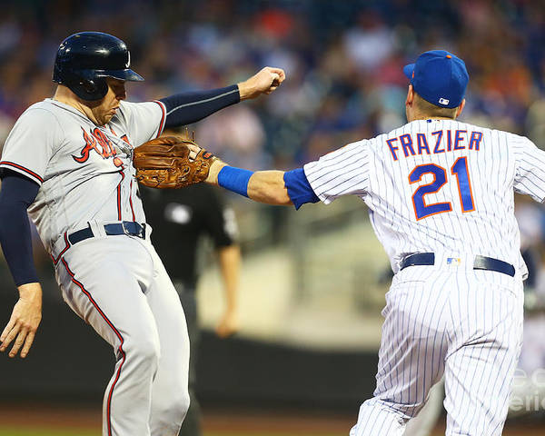 Three Quarter Length Poster featuring the photograph Todd Frazier and Freddie Freeman by Mike Stobe