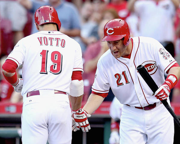 Great American Ball Park Poster featuring the photograph Todd Frazier and Joey Votto by Andy Lyons
