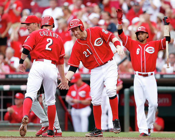 Great American Ball Park Poster featuring the photograph Todd Frazier, Homer Bailey, and Zack Cozart by Joe Robbins