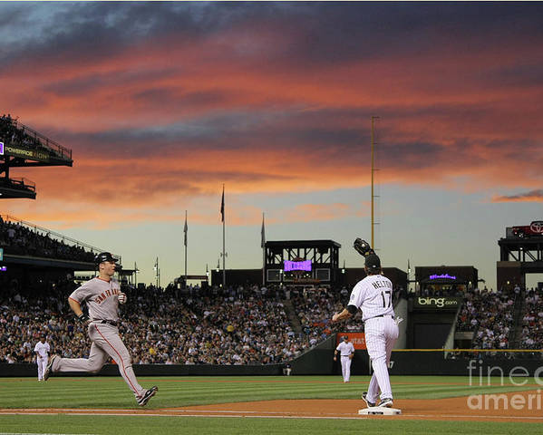 Todd Helton Poster featuring the photograph Todd Helton and Buster Posey by Doug Pensinger