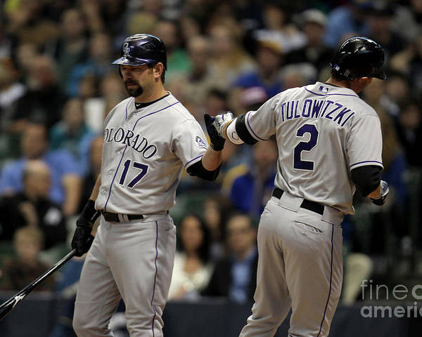 People Poster featuring the photograph Todd Helton and Troy Tulowitzki by Mike Mcginnis