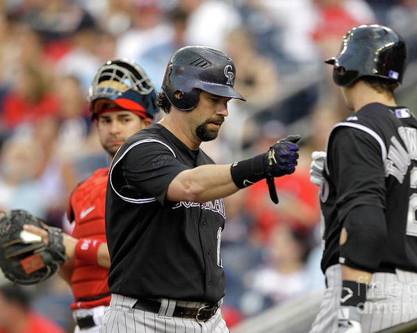 People Poster featuring the photograph Todd Helton and Troy Tulowitzki by Rob Carr