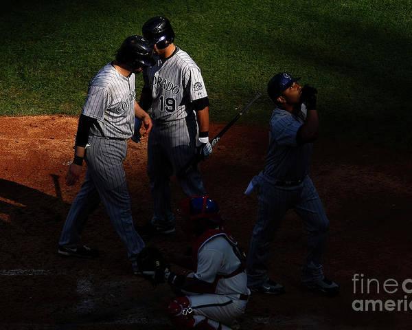Playoffs Poster featuring the photograph Todd Helton, Yorvit Torrealba, and Ryan Spilborghs by Chris Mcgrath