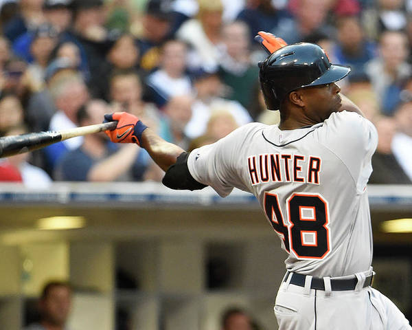 American League Baseball Poster featuring the photograph Torii Hunter by Denis Poroy
