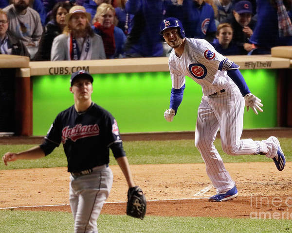 People Poster featuring the photograph Trevor Bauer and Kris Bryant by Jamie Squire
