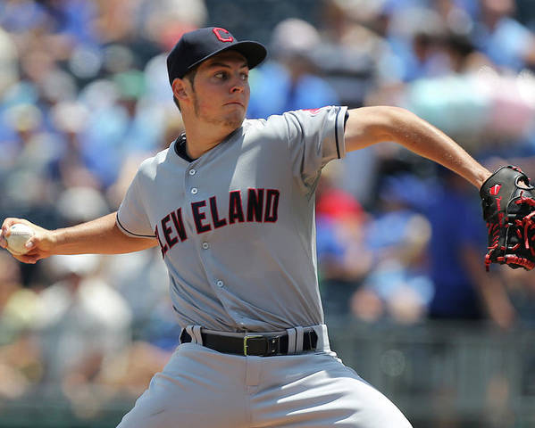 American League Baseball Poster featuring the photograph Trevor Bauer by Ed Zurga
