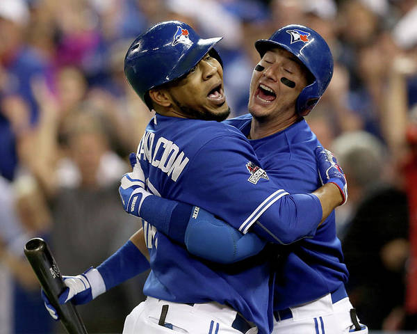 People Poster featuring the photograph Troy Tulowitzki and Edwin Encarnacion by Vaughn Ridley