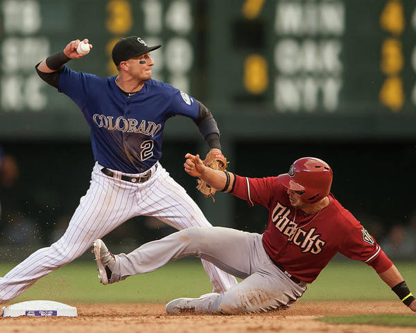 Double Play Poster featuring the photograph Troy Tulowitzki and Martin Prado by Dustin Bradford