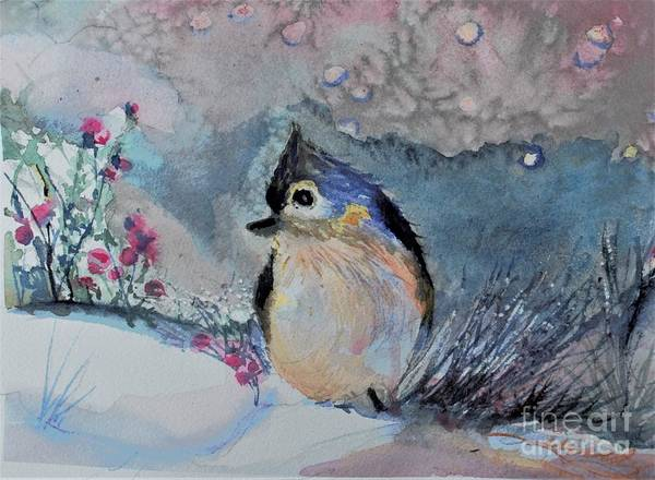 Bird Poster featuring the painting Tufted Titmouse in the Snow by Mindy Newman
