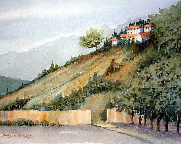 Tuscan Poster featuring the painting Tuscan Hills by Charles Rowland