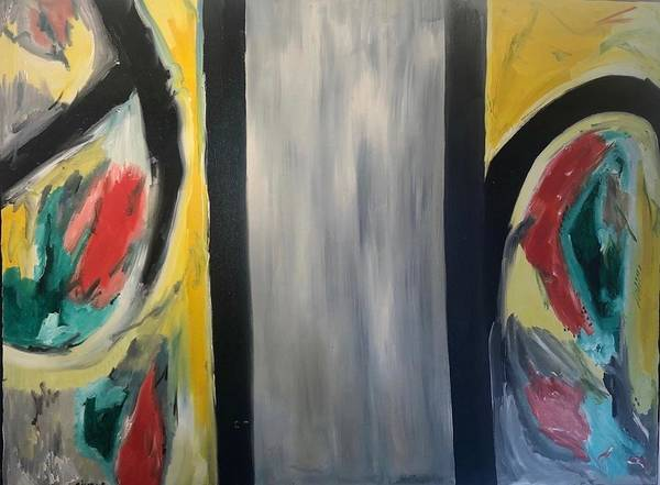 Abstract Poster featuring the mixed media Two worlds by Biagio Civale