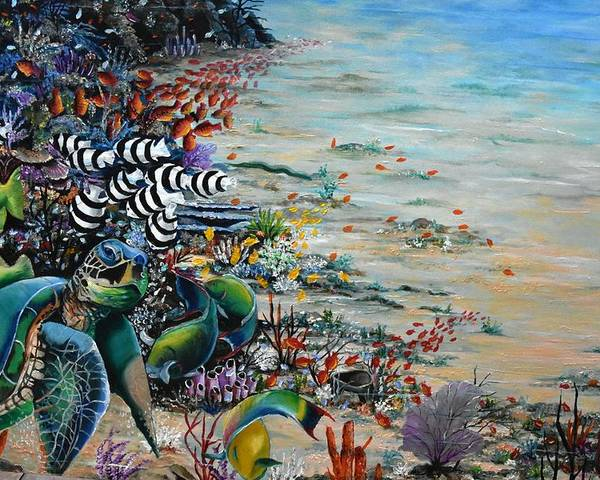 Sea Turtle Poster featuring the painting Under Da Sea by Karin Dawn Kelshall- Best