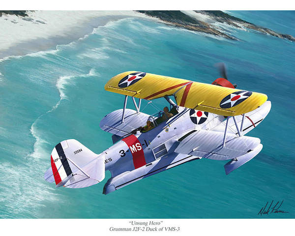 Aviation Poster featuring the painting Unsung Hero - Grumman J2F Duck by Mark Karvon