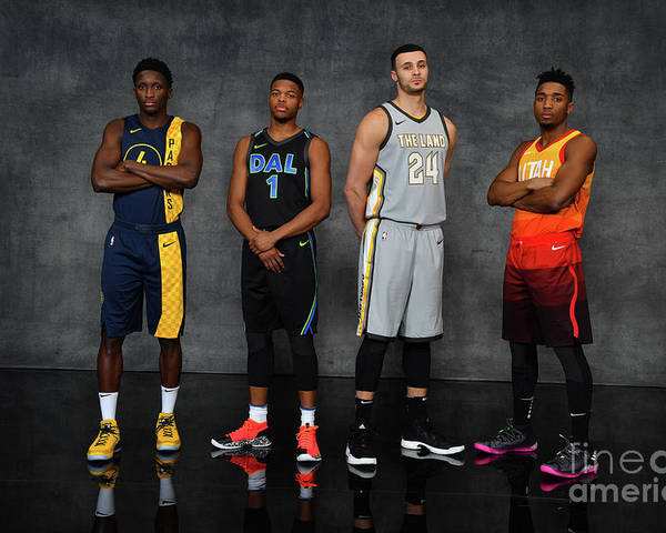 Nba Pro Basketball Poster featuring the photograph Victor Oladipo, Larry Nance, and Donovan Mitchell by Jesse D. Garrabrant