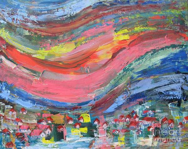 Abstract Landscape Poster featuring the painting Village Nestled in the Mountain - SOLD by Judith Espinoza