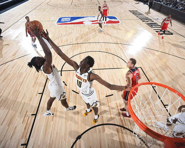 Nba Pro Basketball Poster featuring the photograph Washington Wizards v Denver Nuggets by Garrett Ellwood