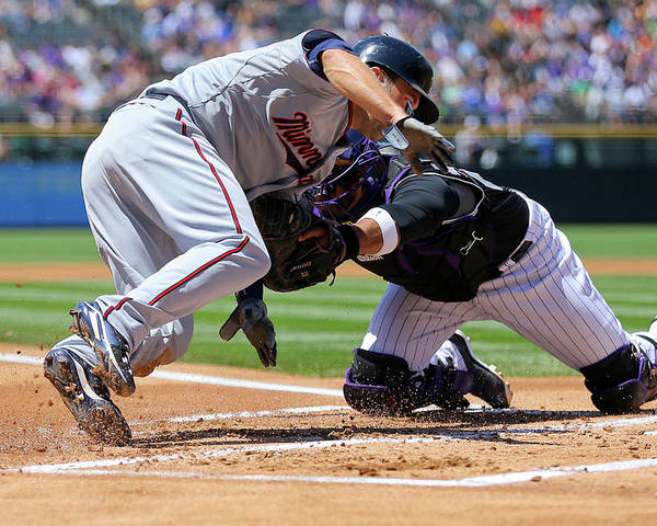 Baseball Catcher Poster featuring the photograph Wilin Rosario and Brian Dozier by Justin Edmonds