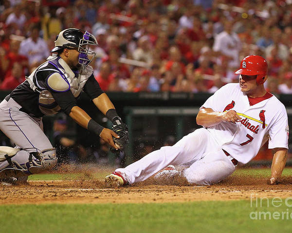 St. Louis Cardinals Poster featuring the photograph Wilin Rosario and Matt Holliday by Dilip Vishwanat