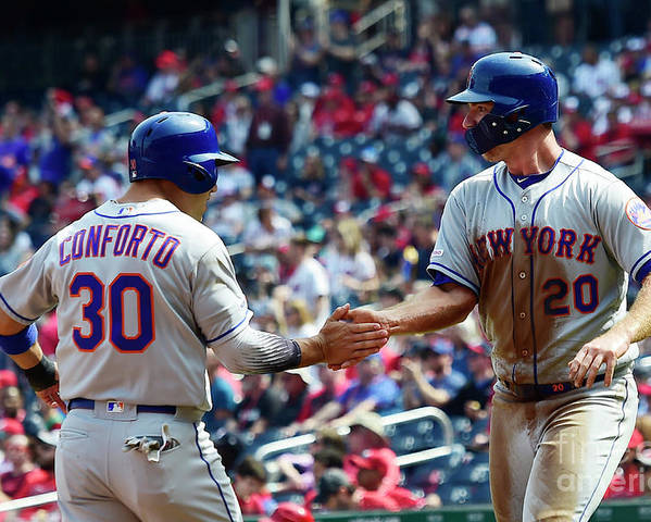 Three Quarter Length Poster featuring the photograph Wilson Ramos and Michael Conforto by Patrick Mcdermott