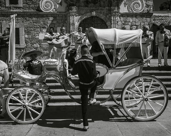 Escaramuza Poster featuring the photograph Wooden Carriage in Mexico by Dane Strom