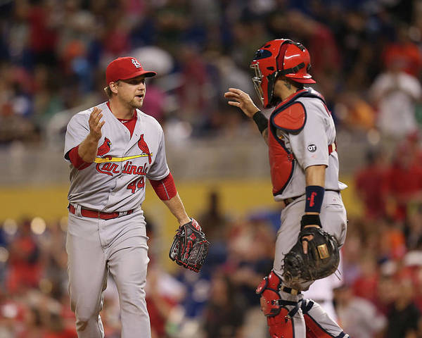 St. Louis Cardinals Poster featuring the photograph Yadier Molina and Trevor Rosenthal by Rob Foldy