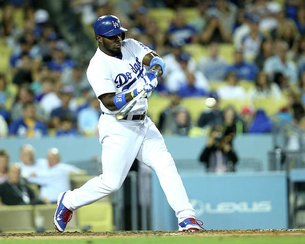 American League Baseball Poster featuring the photograph Yasiel Puig by Stephen Dunn